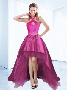 Fuchsia Halter Top Zipper Ruching and Bowknot and Belt Cocktail Dresses Sleeveless