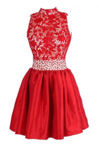 Red V-neck Neckline Beading and Lace Cocktail Dress Sleeveless Criss Cross