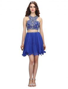 High Class Scoop Royal Blue Criss Cross Club Wear Beading Sleeveless Knee Length