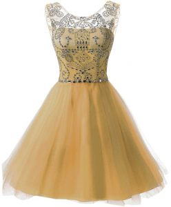 Low Price Gold Chiffon Zipper Scoop Sleeveless Knee Length Cocktail Dresses Beading