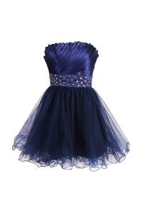 Hot Sale Navy Blue Zipper Cocktail Dress Beading and Sashes ribbons Sleeveless Knee Length