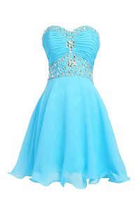 Clearance Sweetheart Sleeveless Cocktail Dress Knee Length Beading Baby Blue Chiffon