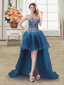 Top Selling Sweetheart Sleeveless Tulle Cocktail Dress Beading and Sequins Lace Up