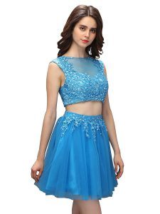 Baby Blue Two Pieces Tulle Asymmetric Sleeveless Beading and Appliques Mini Length Zipper Cocktail Dress