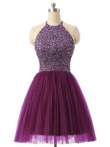 Romantic Sleeveless Tulle Mini Length Backless Cocktail Dress in Dark Purple with Beading and Sequins