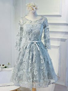 Amazing Grey Lace Up Cocktail Dress Lace and Appliques and Belt Long Sleeves Knee Length