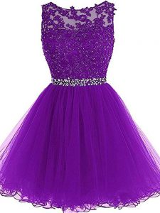 Mini Length Eggplant Purple Cocktail Dress Tulle Sleeveless Beading and Ruffles