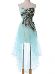Aqua Blue Empire Sweetheart Sleeveless Tulle High Low Lace Up Appliques Cocktail Dresses