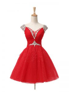 V-neck Cap Sleeves Cocktail Dress Mini Length Beading and Sequins Red Tulle