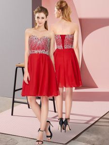 Knee Length Empire Sleeveless Red Cocktail Dresses Lace Up