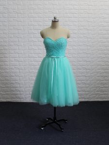 Captivating Beading and Sashes ribbons Cocktail Dress Apple Green Lace Up Sleeveless Knee Length