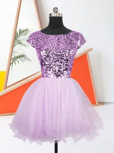 Bateau Sleeveless Cocktail Dress Mini Length Sequins Lavender Organza