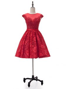 Custom Made Mini Length Red Cocktail Dresses Lace Sleeveless Beading and Appliques