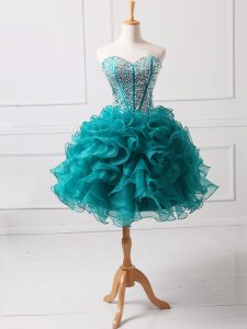 Teal A-line Sweetheart Sleeveless Organza Mini Length Lace Up Beading and Ruffles Cocktail Dresses