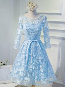 Customized Light Blue A-line Scoop Long Sleeves Organza Mini Length Lace Up Beading and Appliques Club Wear