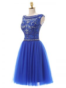 Gorgeous Royal Blue Sleeveless Knee Length Beading Zipper Cocktail Dresses