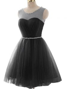 Best Black Sleeveless Tulle Lace Up Cocktail Dresses for Prom and Party and Beach