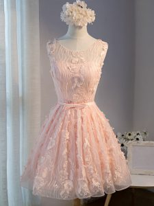 Pink Tulle Lace Up Cocktail Dresses Sleeveless Mini Length Appliques and Belt