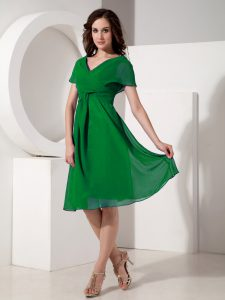 Knee Length Zipper Cocktail Dress Green for Prom and Party with Ruching