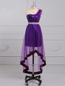 Inexpensive Purple Zipper One Shoulder Beading Cocktail Dresses Tulle and Sequined Sleeveless