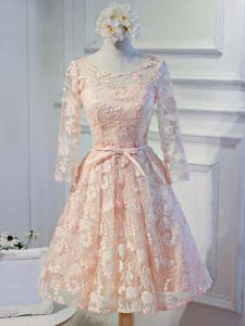 Long Sleeves Organza Knee Length Lace Up Cocktail Dress in Peach with Appliques