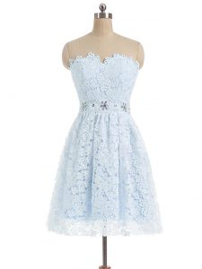 Light Blue A-line Lace Sweetheart Sleeveless Beading and Lace and Appliques Mini Length Zipper Club Wear