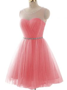 Custom Design Scoop Sleeveless Tulle Cocktail Dress Ruching Lace Up