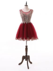 Beautiful Wine Red A-line Beading and Lace and Appliques Cocktail Dresses Zipper Tulle Sleeveless Mini Length