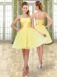 Suitable Strapless Sleeveless Cocktail Dress Mini Length Beading and Ruching Yellow Organza