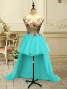 High Quality Aqua Blue Sleeveless Organza Lace Up Cocktail Dress for Military Ball and Sweet 16 and Quinceanera