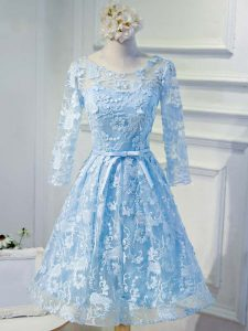 Fine Baby Blue Scoop Neckline Appliques and Belt Cocktail Dresses Long Sleeves Lace Up