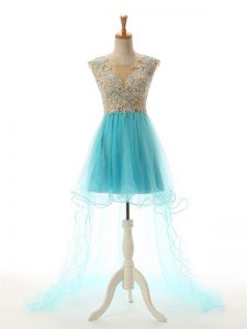 Exquisite Aqua Blue Cocktail Dress Prom and Party and Sweet 16 with Beading and Lace and Appliques Scoop Sleeveless Backless