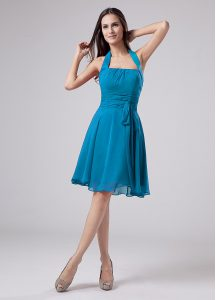 Belt Cocktail Dresses Teal Zipper Sleeveless Knee Length
