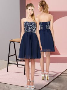 Glittering Sleeveless Chiffon Mini Length Lace Up Cocktail Dresses in Navy Blue with Beading