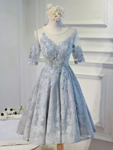 Eye-catching Grey Organza Lace Up Scoop Half Sleeves Knee Length Cocktail Dress Lace and Appliques