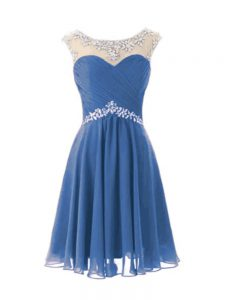 Affordable Blue Zipper Scoop Beading Cocktail Dresses Chiffon Cap Sleeves