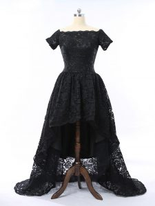 Eye-catching High Low Zipper Cocktail Dress Black for Prom and Party with Lace