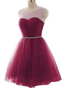 Colorful Burgundy A-line Tulle Scoop Sleeveless Beading and Ruffles Mini Length Lace Up Cocktail Dresses