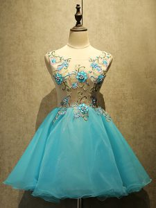 Custom Made Aqua Blue Lace Up Scoop Embroidery Cocktail Dress Organza Sleeveless