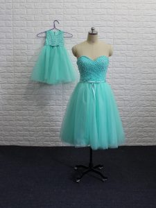 Aqua Blue Sleeveless Tulle Lace Up Cocktail Dress for Prom and Party and Sweet 16