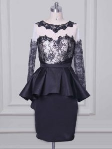 Superior Black Long Sleeves Lace and Appliques Mini Length Cocktail Dress