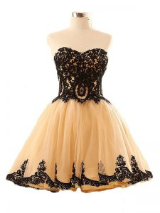 Mini Length Lace Up Cocktail Dresses Champagne for Prom and Party and Sweet 16 with Appliques