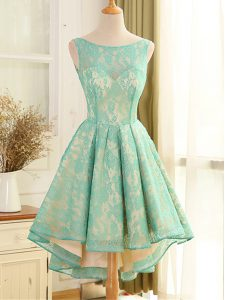 Beautiful High Low Backless Cocktail Dresses Turquoise for Prom and Party with Lace and Appliques
