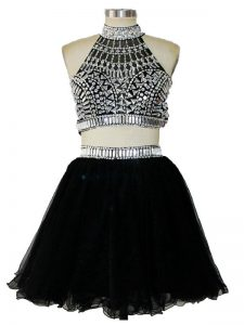 Black Two Pieces Beading Club Wear Criss Cross Tulle Sleeveless Mini Length