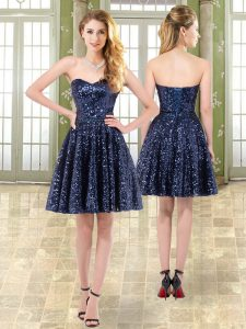 Trendy Mini Length A-line Sleeveless Navy Blue Club Wear Lace Up