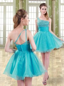 Organza Sleeveless Mini Length Cocktail Dress and Beading