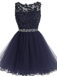Elegant Navy Blue A-line Scoop Sleeveless Tulle Mini Length Zipper Beading and Lace and Appliques and Ruffles Cocktail Dress