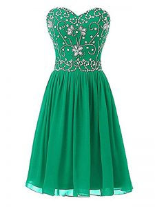 Green Chiffon Zipper Sweetheart Sleeveless Knee Length Cocktail Dresses Beading