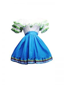 Taffeta Scoop Short Sleeves Zipper Ruffles Club Wear in Blue And White