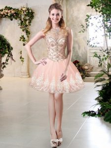 Peach Sleeveless Tulle Lace Up Cocktail Dress for Prom and Party and Sweet 16